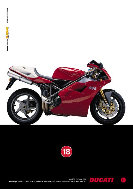 Ducati 996 advertisement, Ken Buckfield, Brighton based marketing consultant.